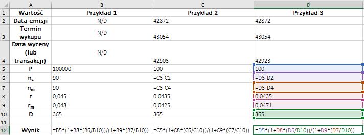 Formuły MS Excel – przykłady wyceny certyfikatów depozytowych