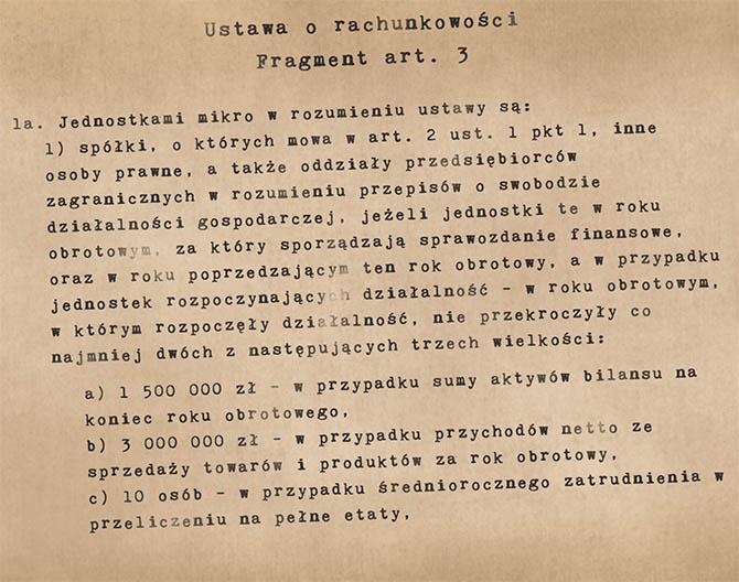 Fragment ustawy o rachunkowości (art. 3) opisujący czym jest jednostka mikro
