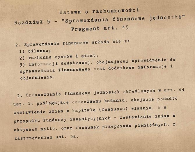 Fragment ustawy o rachunkowości (art. 45) opisujący elementy sprawozdania finansowego