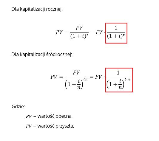 Współczynnik dyskontowy i wzór na wartość obecną