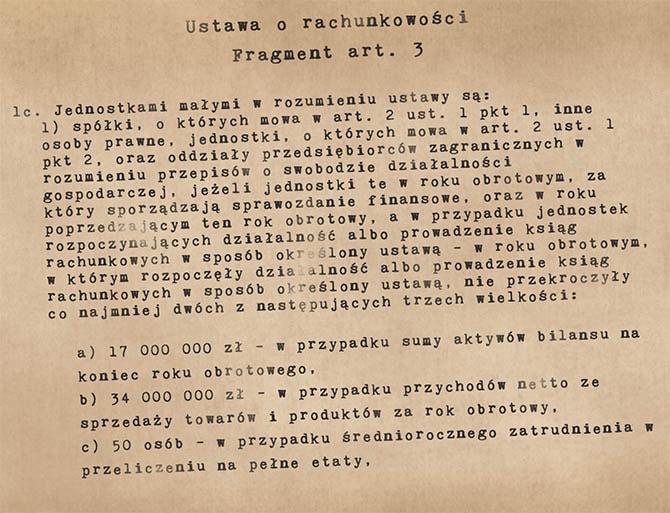 Fragment ustawy o rachunkowości (art. 3) opisujący czym jest jednostka mała