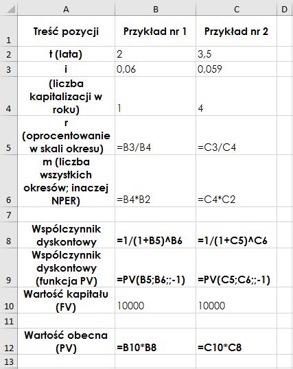 Współczynnik dyskontowy – przykłady w Ms Excel – formuły