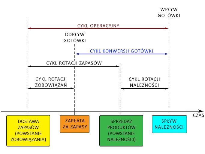 Cykl operacyjny i cykl konwersji gotówki – diagram ukazujący istotę omawianych miar